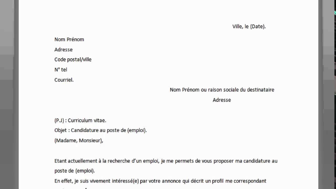 comment ecrire une lettre en francais